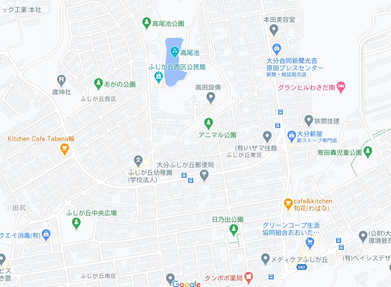 大分市田尻の中古住宅のエリア地図