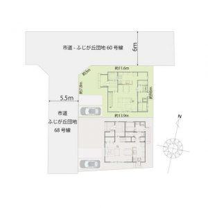 大字田尻ふじが丘南区_3250万円_新築建売住宅_敷地配置図