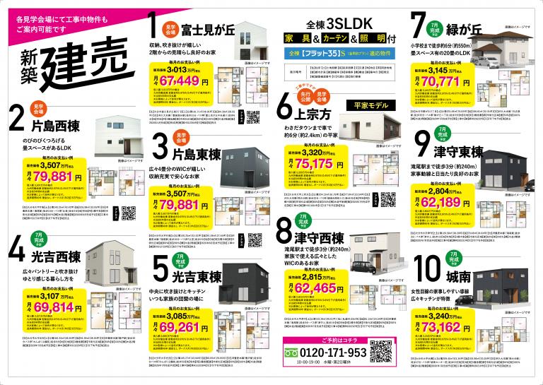大分不動産情報サービス|7月のラインナップチラシ裏面 新築建売