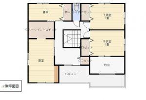 大分市木上 中古住宅(カームタウン木の上) 間取り2階