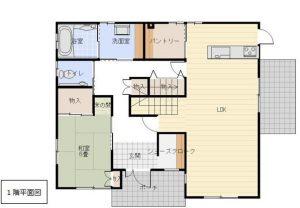 大分市木上 中古住宅(カームタウン木の上) 間取り1階