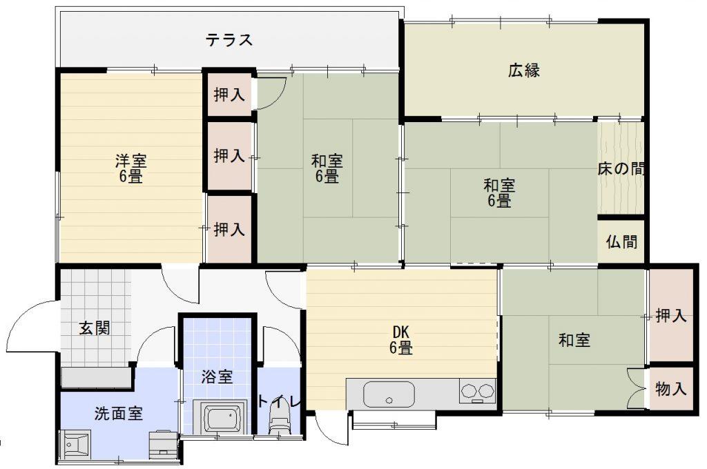竹の上の平屋中古住宅の間取り