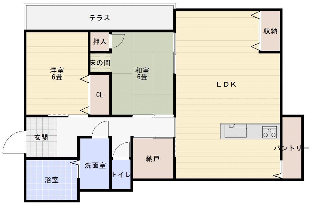 竹の上の平屋中古住宅の間取りイメージ画像