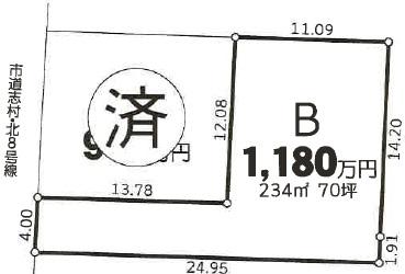 大分不動産情報サービスの不動産物件情報|大分市角子原1丁目 売土地不動産物件 区画図
