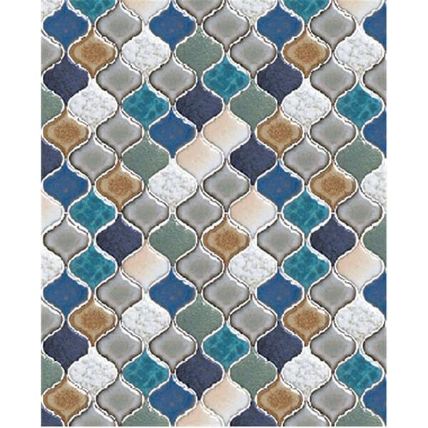 可愛い模様のコラベルタイル ターコイズ色や青、群青色などを中心とした寒色系